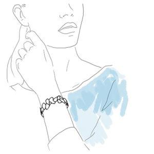 dessin femme portant bracelet