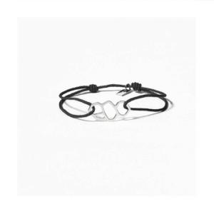 bracelet argent femme lien noir