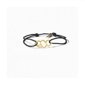 bracelet or femme lien noir