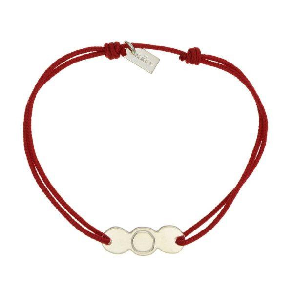 collier argent femme lien rouge