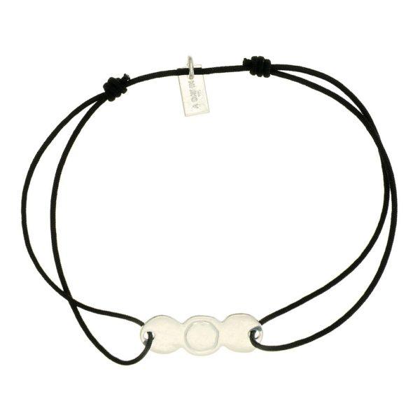 bracelet lien argent femme noir