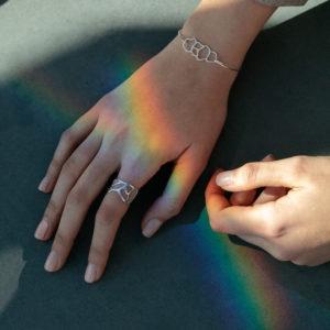 main de femme avec bijoux argent