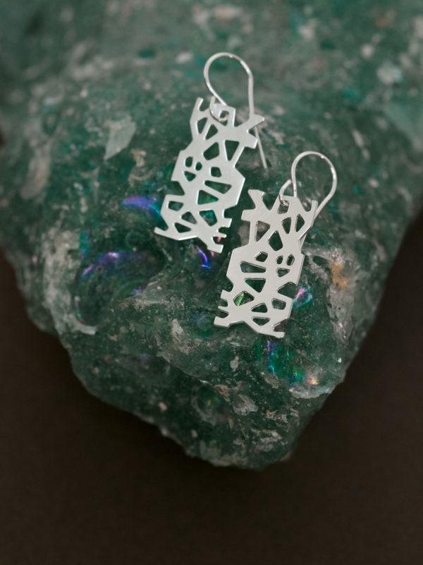boucles d'oreilles sur minéral